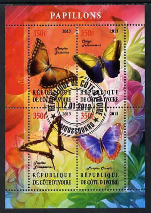 Ivory Coast 2013 Butterflies #1 perf sheetlet containing 4 values fine cto used