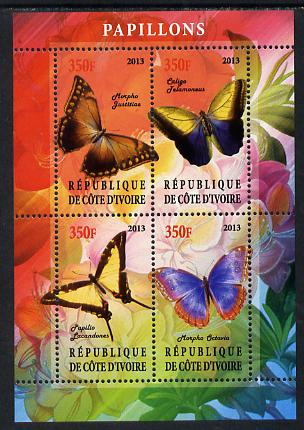 Ivory Coast 2013 Butterflies #1 perf sheetlet containing 4 values unmounted mint