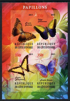 Ivory Coast 2013 Butterflies #1 imperf sheetlet containing 4 values unmounted mint