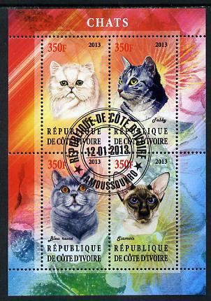 Ivory Coast 2013 Domestic Cats #1 perf sheetlet containing 4 values fine cto used
