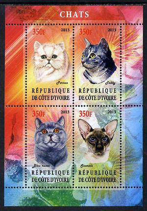 Ivory Coast 2013 Domestic Cats #1 perf sheetlet containing 4 values unmounted mint