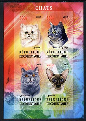 Ivory Coast 2013 Domestic Cats #1 imperf sheetlet containing 4 values unmounted mint
