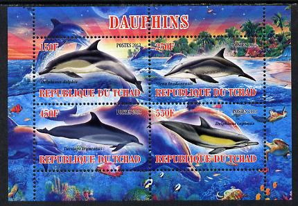 Chad 2013 Dolphins perf sheetlet containing 4 values unmounted mint
