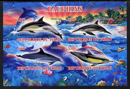 Chad 2013 Dolphins imperf sheetlet containing 4 values unmounted mint