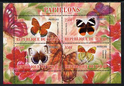 Chad 2013 Butterflies #01 perf sheetlet containing 4 values unmounted mint