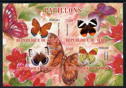 Chad 2013 Butterflies #01 imperf sheetlet containing 4 values unmounted mint