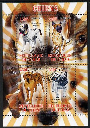 Chad 2013 Dogs #1 perf sheetlet containing 4 values fine cto used