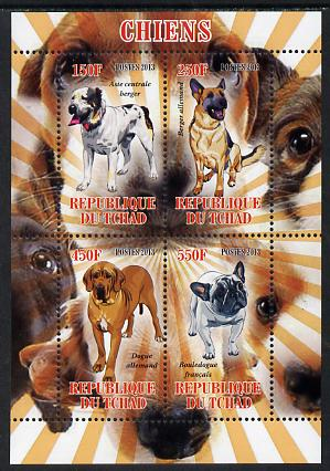 Chad 2013 Dogs #1 perf sheetlet containing 4 values unmounted mint