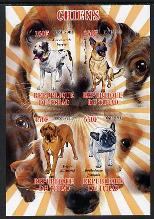 Chad 2013 Dogs #1 imperf sheetlet containing 4 values unmounted mint
