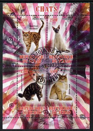 Chad 2013 Domestic Cats perf sheetlet containing 4 values fine cto used