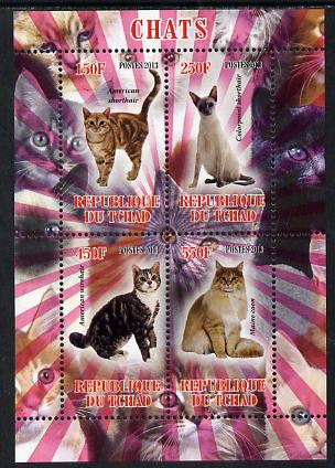 Chad 2013 Domestic Cats perf sheetlet containing 4 values unmounted mint