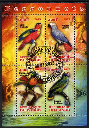 Congo 2013 Parrots perf sheetlet containing 4 values fine cto used