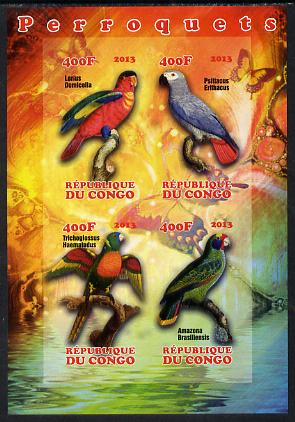 Congo 2013 Parrots imperf sheetlet containing 4 values unmounted mint