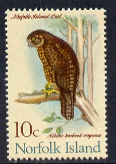 Norfolk Island 1970-71 Boobook Owl 10c unmounted mint SG 110