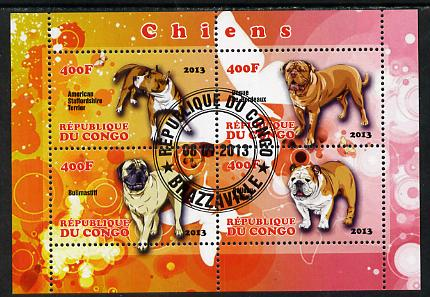 Congo 2013 Dogs perf sheetlet containing 4 values fine cto used