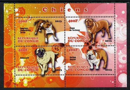 Congo 2013 Dogs perf sheetlet containing 4 values unmounted mint