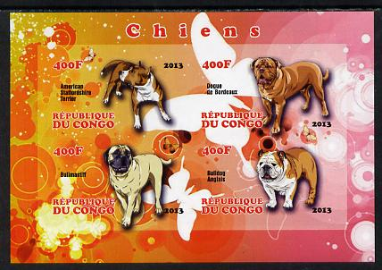 Congo 2013 Dogs imperf sheetlet containing 4 values unmounted mint