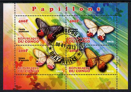 Congo 2013 Butterflies #1 perf sheetlet containing 4 values fine cto used