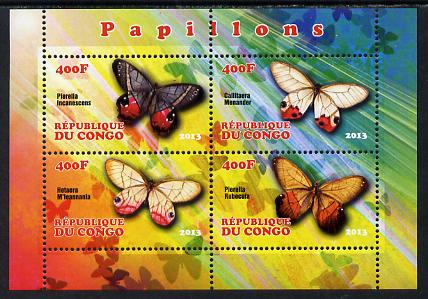 Congo 2013 Butterflies #1 perf sheetlet containing 4 values unmounted mint, stamps on butterflies