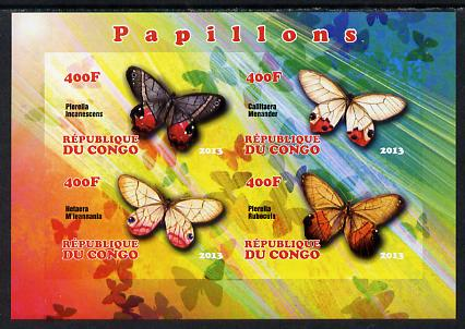 Congo 2013 Butterflies #1 imperf sheetlet containing 4 values unmounted mint