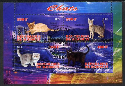 Djibouti 2013 Domestic Cats #3 perf sheetlet containing 4 values fine cto used