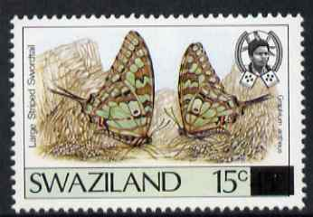 Swaziland 1990 Butterfly Provisional 15c on 45c (error) issued stamp was 15c on 30c (shown here for comparison and is not included) unmounted mint SG 580a