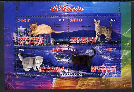 Djibouti 2013 Domestic Cats #3 perf sheetlet containing 4 values unmounted mint