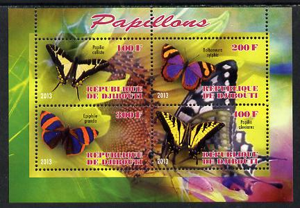 Djibouti 2013 Butterflies #5 perf sheetlet containing 4 values unmounted mint