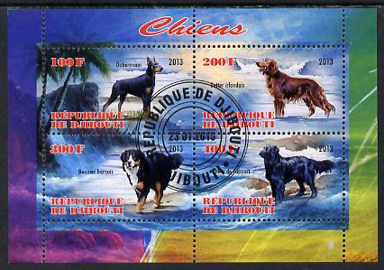 Djibouti 2013 Dogs #3 perf sheetlet containing 4 values fine cto used