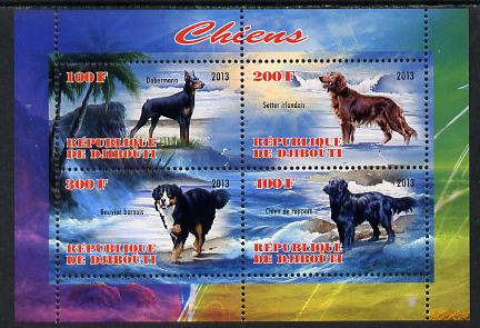 Djibouti 2013 Dogs #3 perf sheetlet containing 4 values unmounted mint