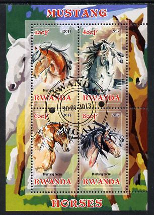 Rwanda 2013 Horses #1  perf sheetlet containing 4 values fine cto used, stamps on animals, stamps on horses