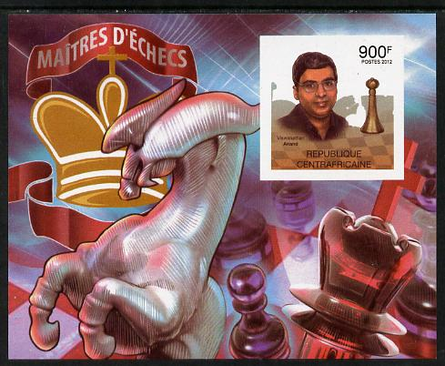 Central African Republic 2012 Chess Grandmasters - Wiswanathan Anand imperf souvenir sheet unmounted mint. Note this item is privately produced and is offered purely on its thematic appeal, it has no postal validity