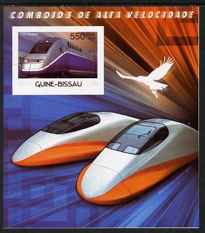 Guinea - Bissau 2012 High Speed Trains - TGV Duplex imperf souvenir sheet unmounted mint