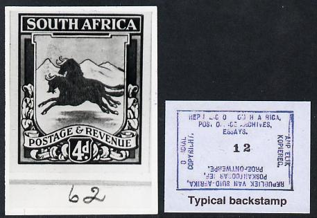 South Africa 1923 KG5 Pictorial issue B&W photograph of original essay for Natal Arms (Wildebeest) denominated 4d approximately twice stamp-size. Official photograph from...