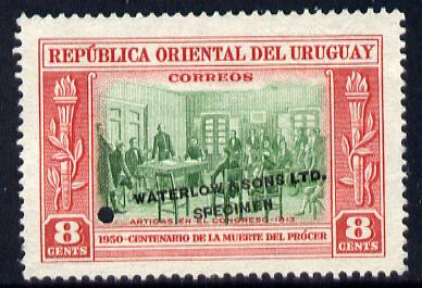 Uruguay 1952 Death Centenary of General Artigas 8c Artigas in Congress Printer's sample in green & red (issued stamp was black & red) overprinted Waterlow & Sons SPECIMEN with security punch hole without gum, as SG 1015
