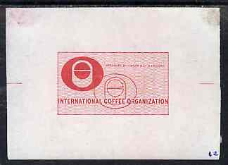 Brazil - 1967 (?) Die proof for International Coffee Organisation label in red (mounted on corners and extracted from Bradbury Wilkinson record books)
