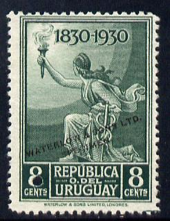 Uruguay 1930 Centenary of Independence 8c Torch Bearer Printer's sample in green (issued stamp was scarlet) overprinted Waterlow & Sons SPECIMEN with security punch hole without gum, as SG 644