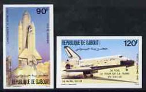 Djibouti 1981 Space shuttle set of 2 imperf from limited printing, as SG 824-25 unmounted mint