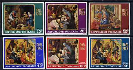 Togo 1968 Christmas - Paintings imperf set of 6 from from limited printing unmounted mint, as SG 621-26*