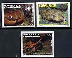 French Polynesia 1987 Crustaceans imperf set of 3 from limited printing, unmounted mint as SG 501-03*