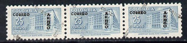 Colombia 1953 Post Office 25c strip of 3 with opt doubled, one obliquely unmounted mint (SG 771a but unpriced)