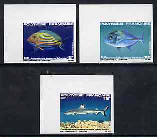 French Polynesia 1983 Fishes #4 imperf set of 3 from limited printing, unmounted mint as SG 386-88*