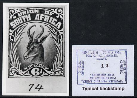 South Africa 1926-27 issue Perkins Bacon B&W photograph of original 6d Springbok essay inscribed in English approximately twice stamp-size. Official photograph from the original artwork held by the Government Printer in Pretoria with authority handstamp on the back, one of only 30 produced.