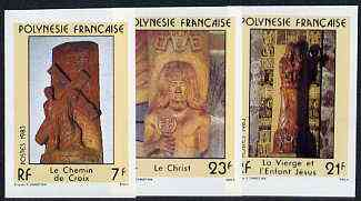 French Polynesia 1983 Religious Sculptures imperf set of 3 from limited printing, unmounted mint as SG 389-91*