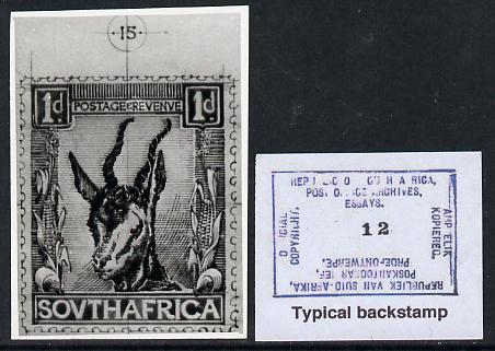 South Africa 1926-27 issue Public Works Dept B&W photograph of original 1d Springbok essay inscribed in English, approximately twice stamp-size. Official photograph from the original artwork held by the Government Printer in Pretoria with authority handstamp on the back, one of only 30 produced.