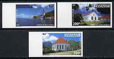 French Polynesia 1986 Protestant Churches imperf set of 3 each in gutter pair with label between from limited printing, unmounted mint as SG 495-97