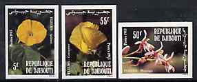 Djibouti 1983 Flowers imperf set of 3 from limited printing, as SG 878-80