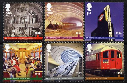Great Britain 2013 London Underground perf set of 6 values unmounted mint