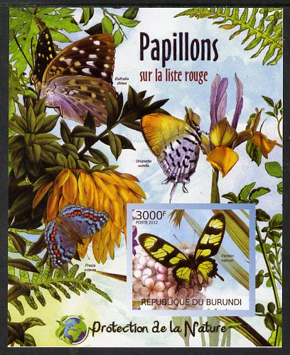 Burundi 2012 Endangered Butterflies #2 imperf deluxe sheet unmounted mint