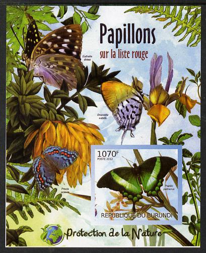 Burundi 2012 Endangered Butterflies #4 imperf deluxe sheet unmounted mint